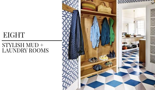 interior design trend, mud room design, jewel box, blue wall covering, geometric tile, laundry room design