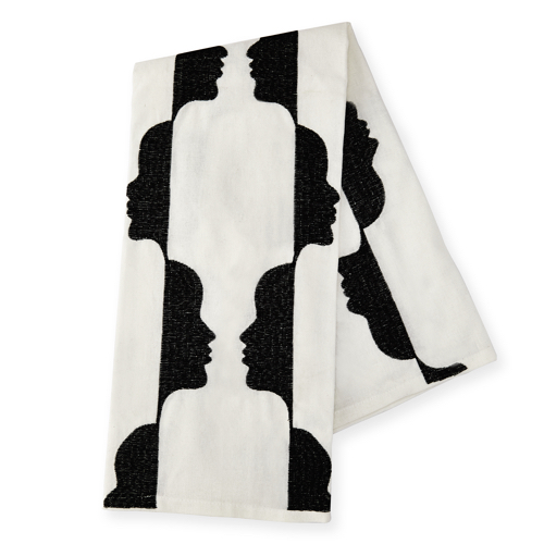 Pulp Design Studios Kismet Lounge Collection Gemini Embroidered Black and White Gemini Tea Towel made of Linen featuring an allover face pattern