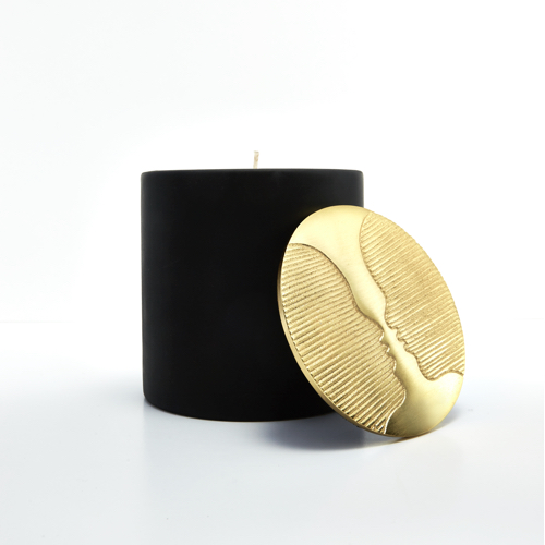 Pulp Design Studios Kismet Lounge Collection Gemini Matte Black Candle Soy Wax Moroccan Spa Inspired Scent Decorative Brass Lid featuring face design