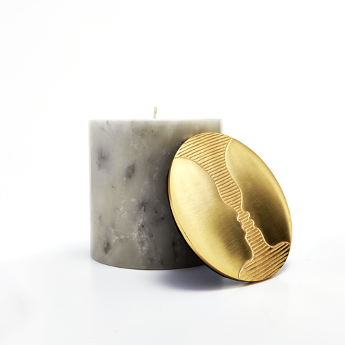 Pulp Design Studios Kismet Lounge Gemini Marble Candle with Brass Decorative Lid featuring the astrological twins faces