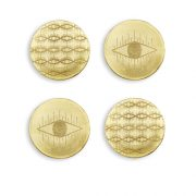 Pulp Design Studios Kismet Lounge Eye of Ra Brass Coaster Set