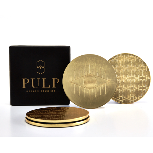 Pulp Design Studios Kismet Lounge Eye of Ra Brass Coaster Set with Logo Gift Box