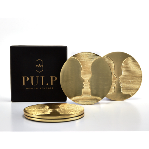 Pulp Design Studios Kismet Lounge Gemini Brass Coaster Set with Gift Box