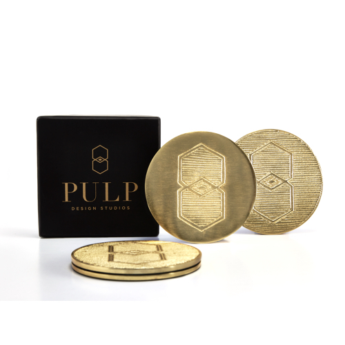 Pulp Design Studios Icon Brass Coaster Set with Gift Box