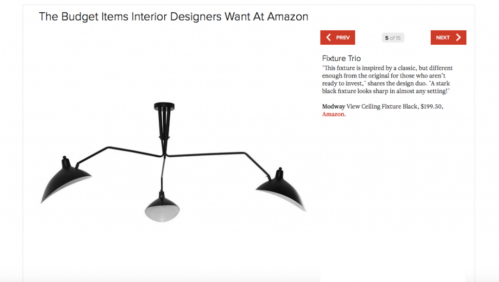 Lonny Magazine Budget Items Interior Designers Want at Amazon featuring View Ceiling Fixture in Black, Trio light fixture