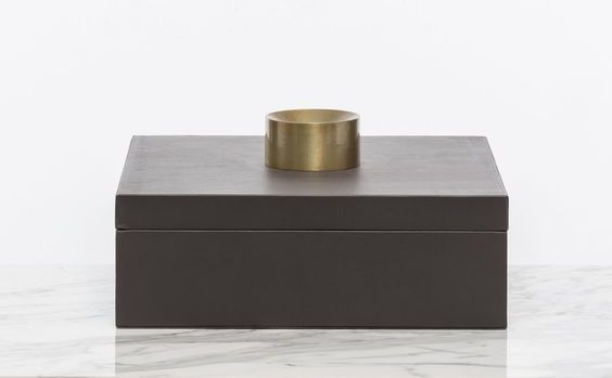 keepsake box, chic storage, leather wrapped box, brass accented box, remote box