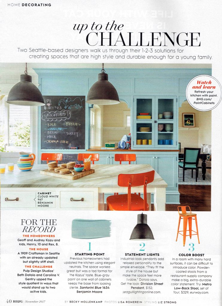Pulp Design Studios Better Homes & Gardens November 2017 featuring Black Pendant Lighting, Colorful Orange Bar Stools, Chalk Board Wall, Family Kitchen