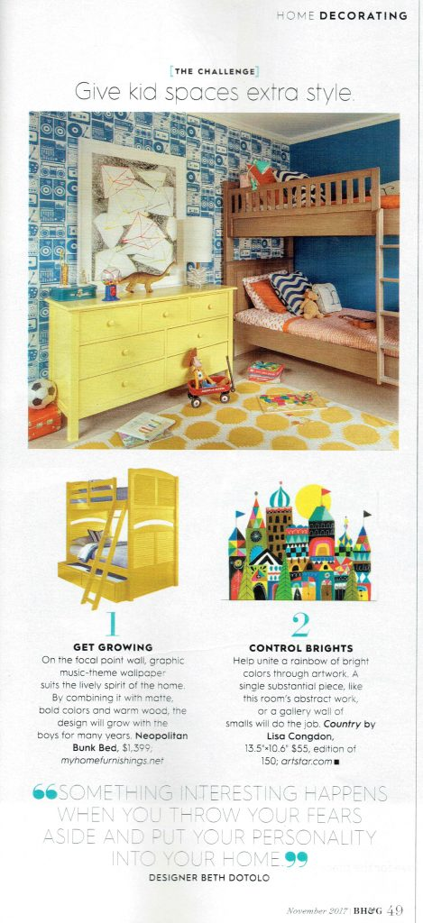 Pulp Design Studios Better Homes & Gardens November 2017 featuring a stylish kid's room with a Vibrant Yellow Dresser, Wood Bunk Beds, and Blue Stereo Wallpaper