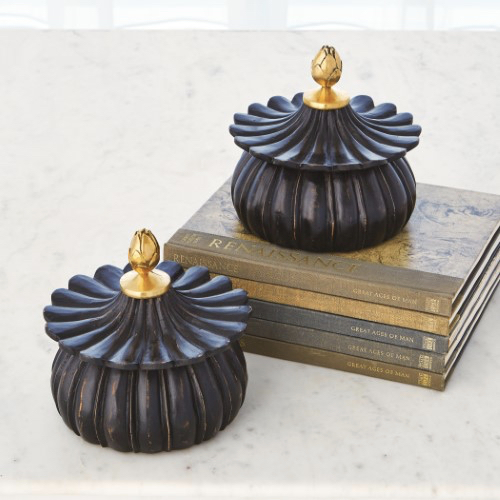 Pulp Home – Carved Lotus Box-Black Antique