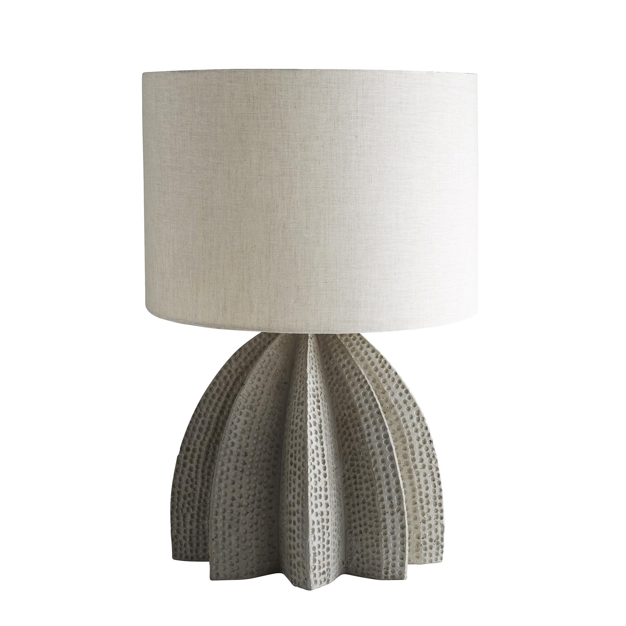 Pulp Home - Lorenzo Lamp. Dimensional and textured concrete table lamp with linen shade