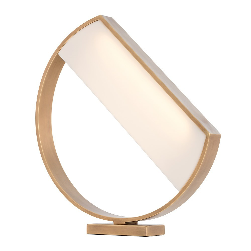 Pulp Home - Luna Lamp. Asymmetric White and Brass Table Lamp