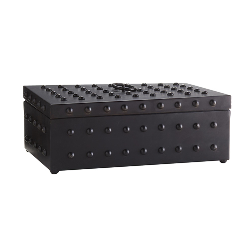 temple box, studded box, black storage box, chic storage, keepsake box, lidded box, black lidded box, black box with studs