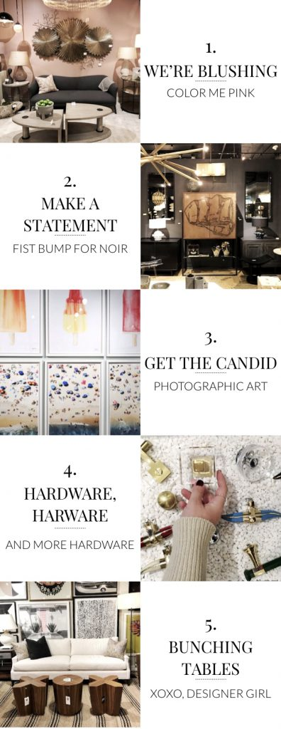 The Top Trends from High Point Market October 2017, featuring millennial pink and blush, statement hardware, photography, statement furnishings, bunching tables, coffee table sets