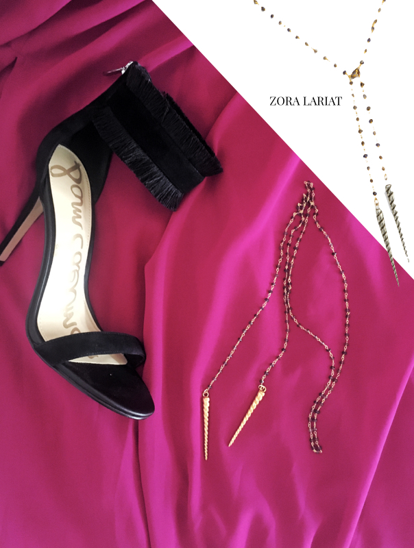 f is for frank statement jewelry, sam edelman heels, zora lariat, gold necklace, black and gold jewelry, statement jewelry