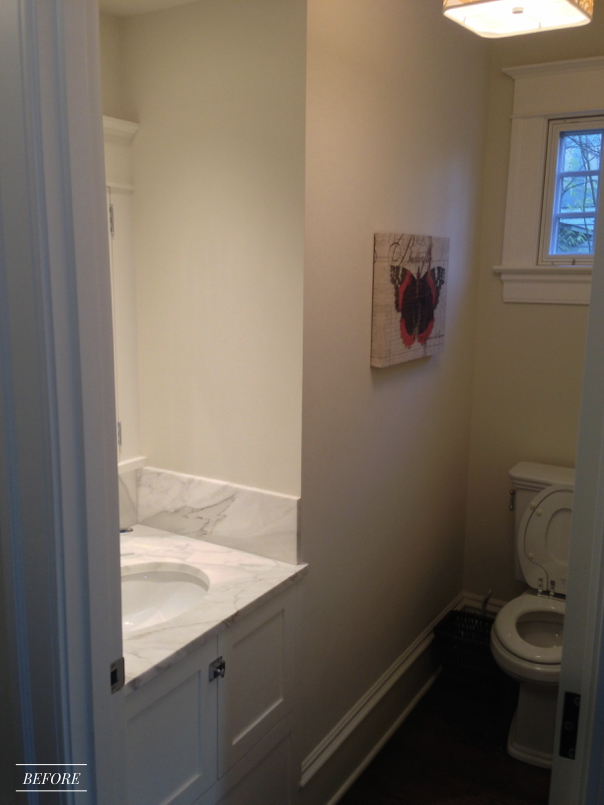 Before and After Transformation of a Fearless Family Home featured in Better Homes and Gardens, Powder Bath