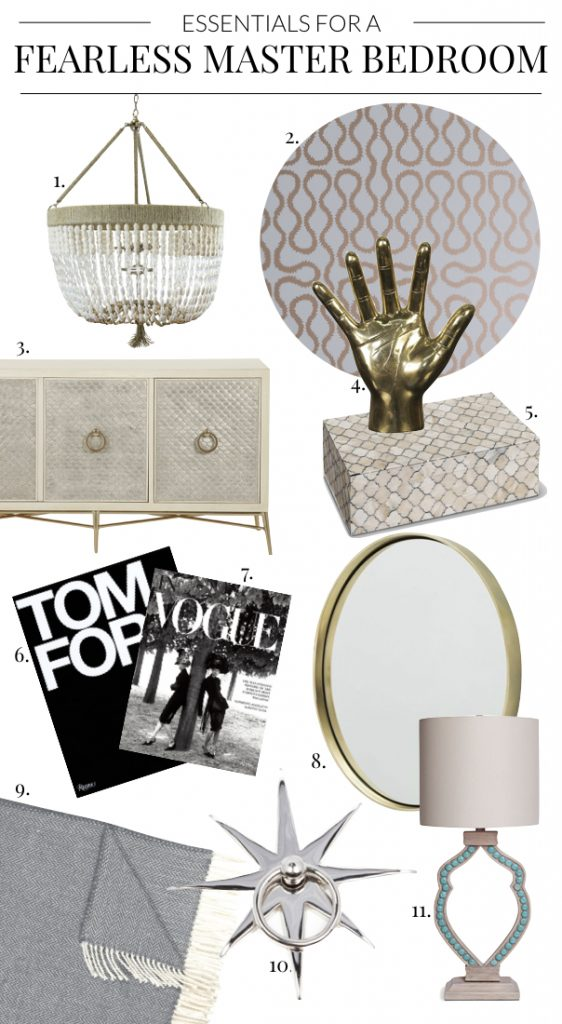 Essentials for a Fearless Master Bedroom featuring Jewel Box Wallcovering, White Beaded Chandelier, Gold Hand Accessory, Blue Throw, Bernhardt Media Console, Coffee Table Books