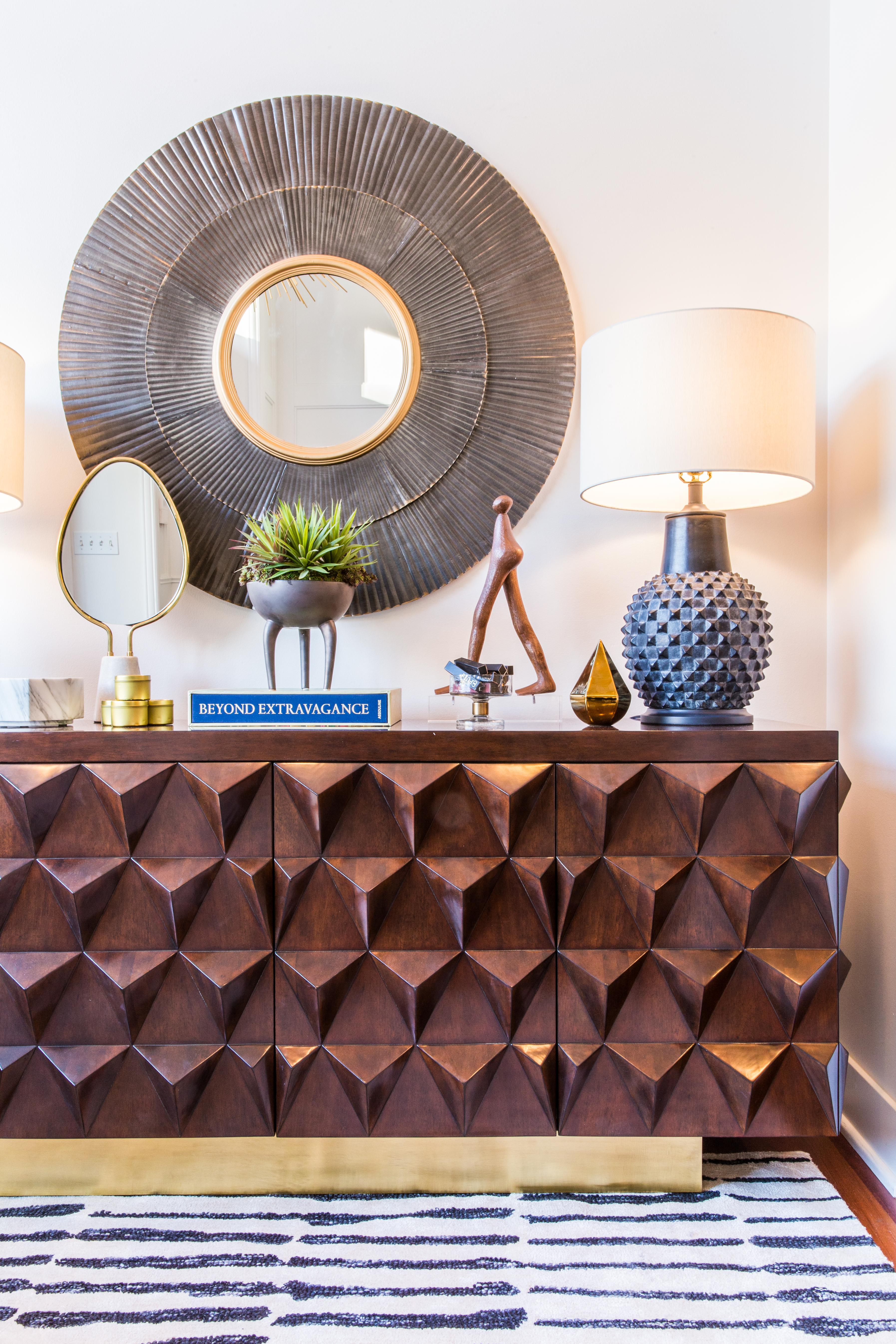 Pulp Design Studios and The Mine Home and Entertaining Goods Pop Up Shop with Dimensional Credenza, Round Mirror and Human Figure Sculpture Accessory