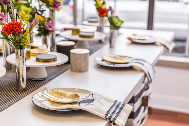 Chic Place Setting with Embroidered Tea Towel and Gold Accents