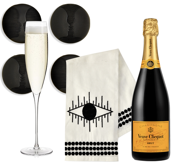 The Ultimate Hostess Gift: Champagne, Tea Towel with Coasters