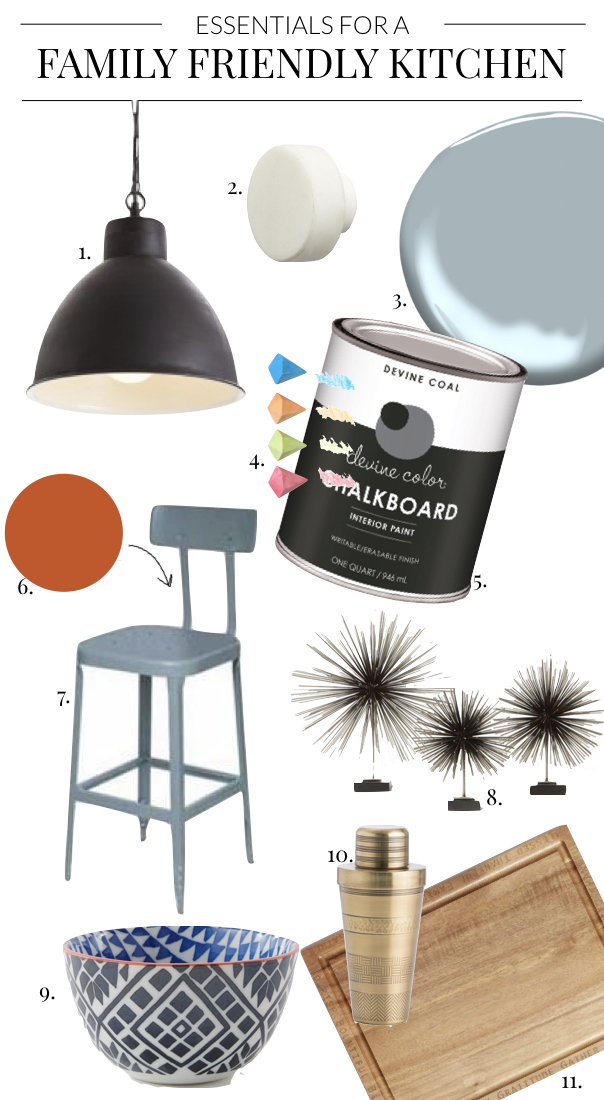 Dining + Kitchen Essentials - The Essentials for a Family Friendly Kitchen with Chalkboard Paint, Blue Cabinets, Bright Bar Stools