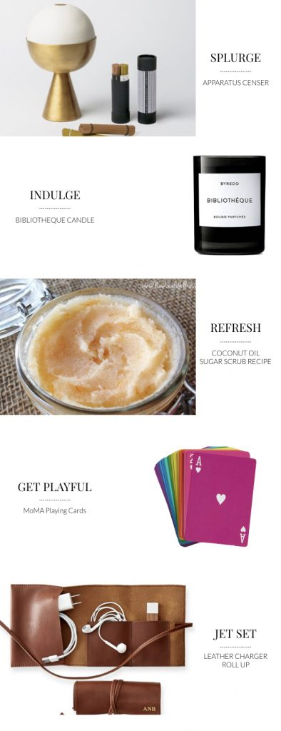 Luxury candle, censer incense burner, coconut oil sugar scrub recipe, mama playing cards, leather charger roll up