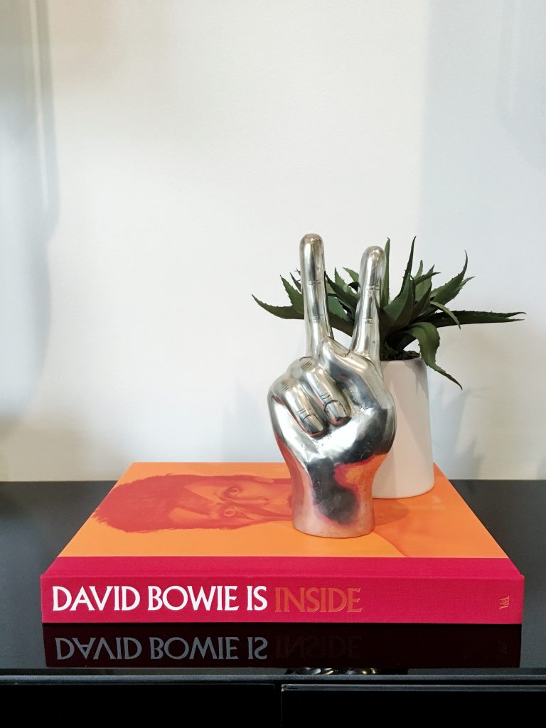 David Bowie Book Styling with Silver Chrome Peace Sign Home Accessory