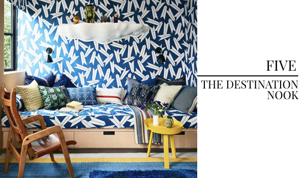 2018 Interior Design Color Trends Blue Pattern Wallcovering, Destination Reading Nook, Interior Design Reading Nook