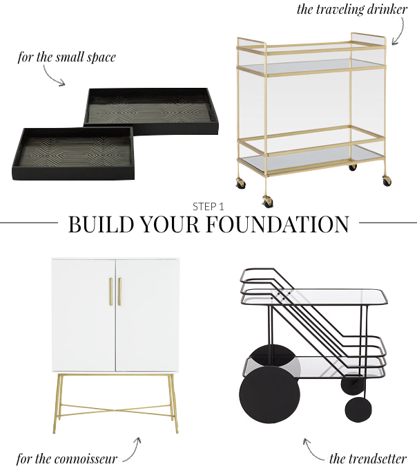 How to Build a Home Bar - Bar Carts for Every Style