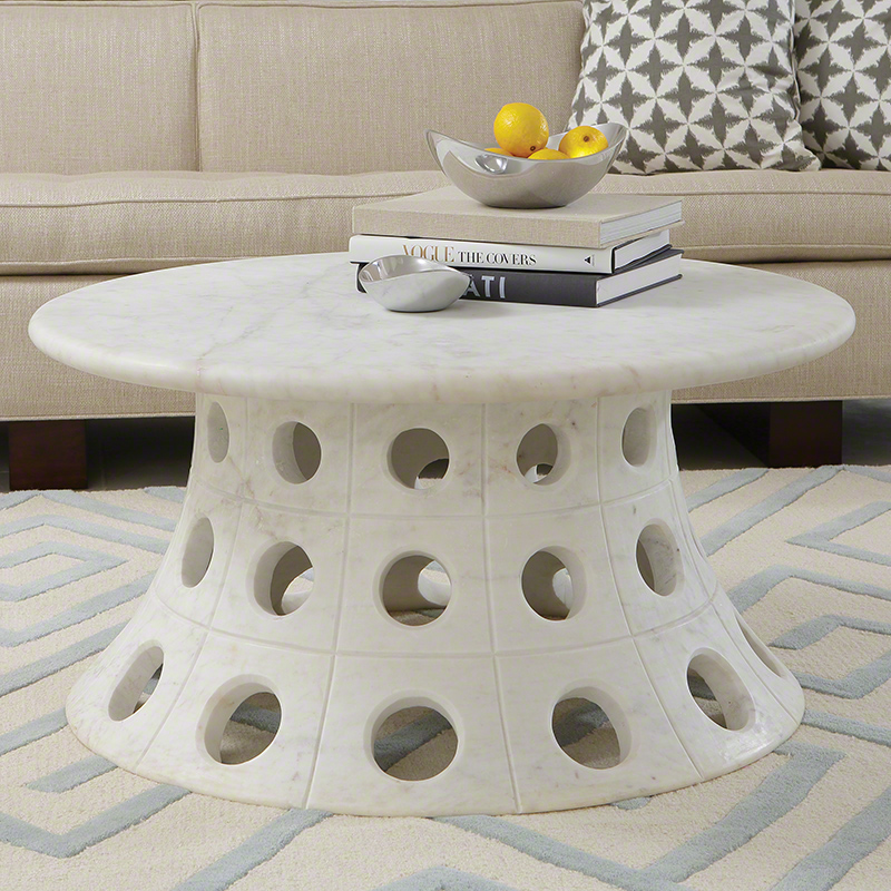 Pulp Home - Circle Taper Coffee Table - Whimsical White Statement Coffee Table