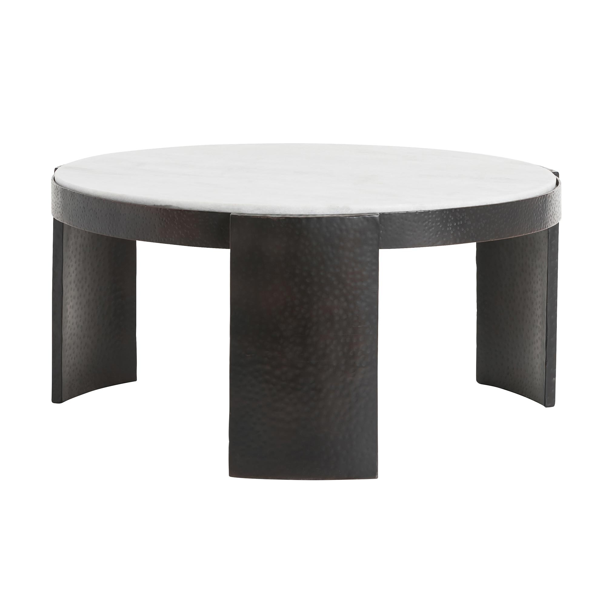 Pulp Home - Glenn Cocktail Table - White Marble and Iron Coffee Table