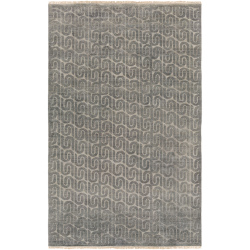 Pulp Home - Stanton Rug - 100% Wool, Medium Pile Geometric Rug , Charcoal Medium Grey Rug