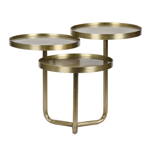 Pulp Home - Tre Metal Table - Multi-Level Circular Brass Metal Side or Coffee Table