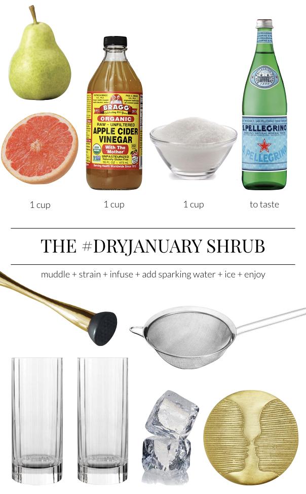 Winter Fruit Shrub Recipe - Apple Cider Vinegar Syrup Recipe - Non Alcoholic Cocktail Recipe - Homemade Soda Recipe
