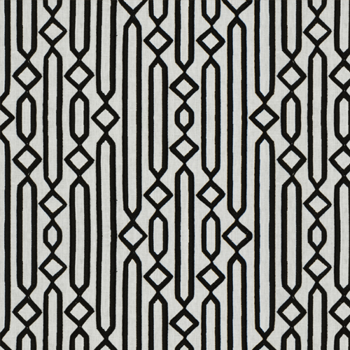 Cartouche - Blackstone - Pulp Design Studios for S Harris textiles. Embroidered and corded on a linen ground, this modernized pattern was inspired by ancient Egyptian tablets carved with hieroglyphics. Cartouche is a versatile modern black and white geometric that works in traditional and modern applications.