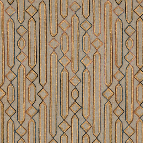 Cartouche - Copper - Pulp Design Studios for S Harris textiles. Embroidered and corded on a linen ground, this modernized pattern was inspired by ancient Egyptian tablets carved with hieroglyphics. Cartouche is a versatile modern copper orange geometric that works in traditional and modern applications. The embroidery is woven with Zari yarn, traditionally used in Indian sarees.