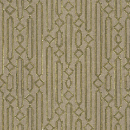 Cartouche - Sage - Pulp Design Studios for S Harris textiles. Embroidered and corded on a linen ground, this modernized pattern was inspired by ancient Egyptian tablets carved with hieroglyphics. Cartouche is a versatile modern sage green geometric that works in traditional and modern applications.