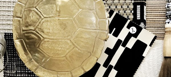 Interior Design Scheme Sources, Brass and Black Design Scheme, Turtle Shell Paper Weight Accessories, Home Decor Textiles
