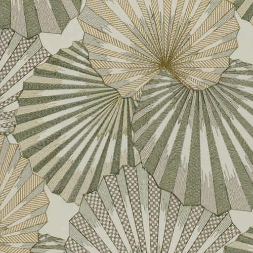 Osaka - Absint - Pulp Design Studios for S Harris textiles. This stunning fan leaf palm embroidery was inspired by the Kimonos worn by Japanese geishas. Subdued tonal greens with subtle shimmer create a statement pattern that still feels organic in nature.