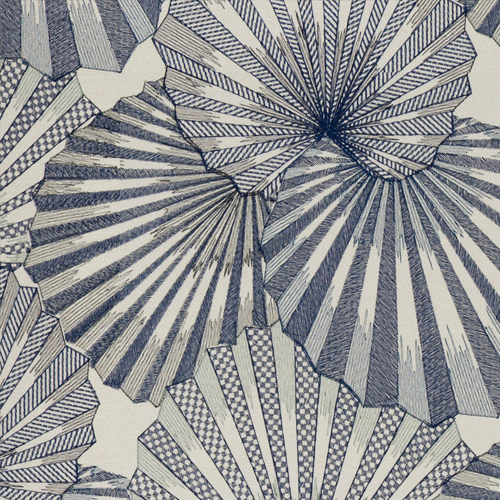 Osaka - Marine - Pulp Design Studios for S Harris textiles. This stunning fan leaf palm embroidery was inspired by the Kimonos worn by Japanese geishas. Subdued and rich blues with subtle shimmer create a statement pattern that still feels organic in nature.