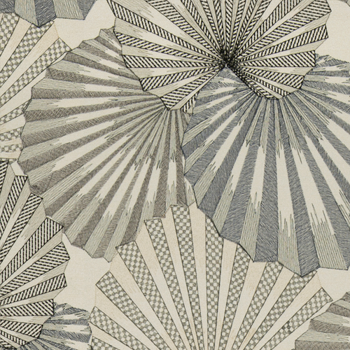 Osaka - Onxy Fog - Pulp Design Studios for S Harris textiles. This stunning fan leaf palm embroidery was inspired by the Kimonos worn by Japanese geishas. Subdued black, white, and rich neutrals with subtle shimmer create a statement pattern that still feels organic in nature.
