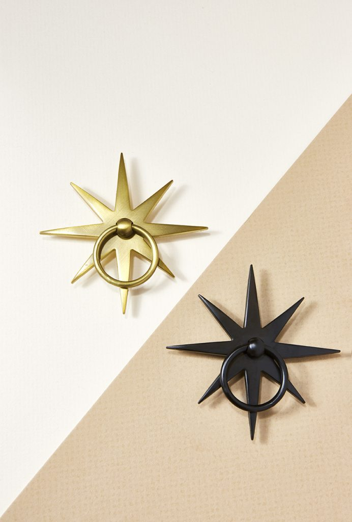 Pulp Home - Starburst Pull, Matte Brass Hardware, Matte Brass, Matte Black Hardware, Star Hardware, Nautical Hardware, Black Hardware, Brass Hardware