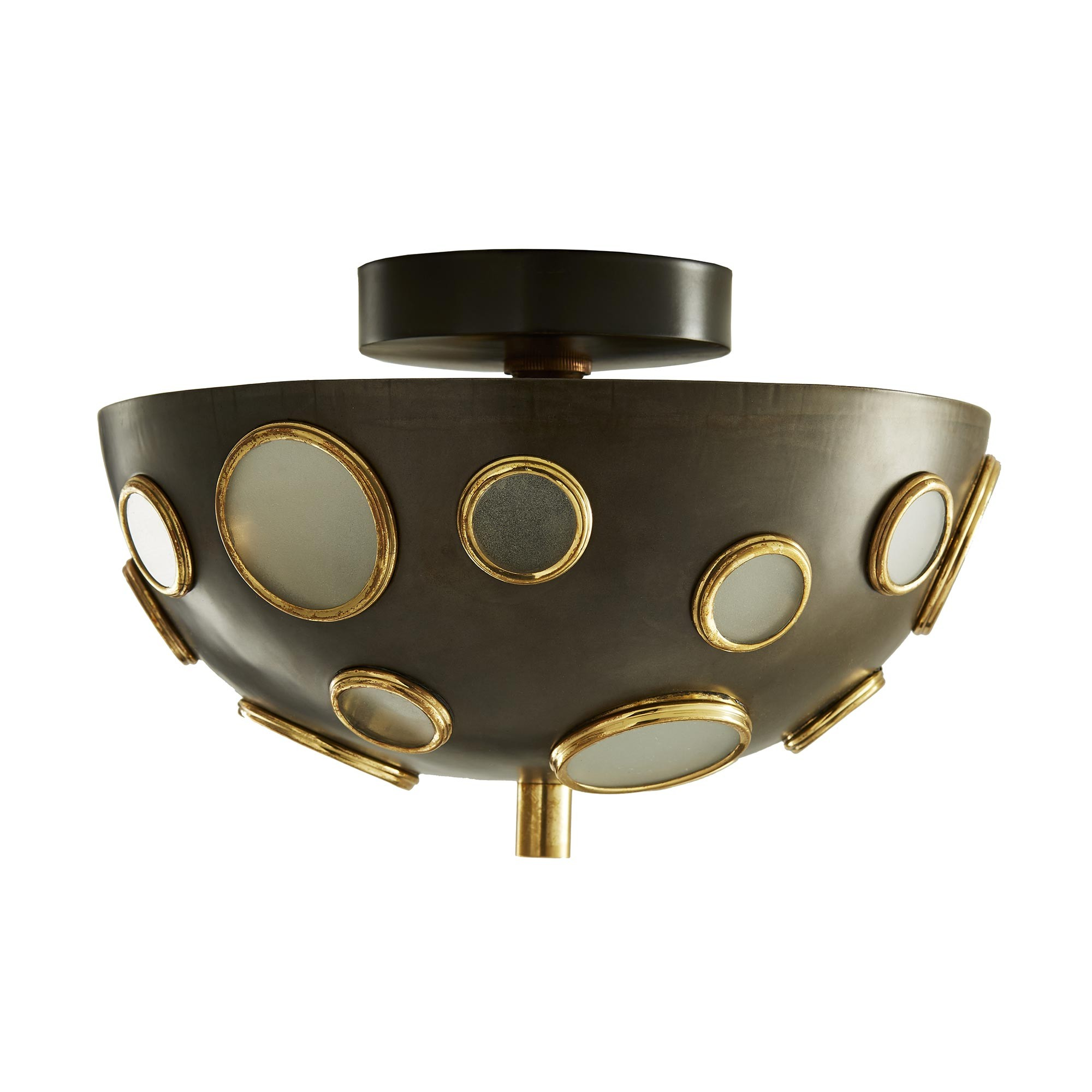 Pulp Home - Holly Sconce/Ceiling Mount - Low Profile Ceiling Lighting, Statement Light Fixtures, Circle Accented Lighting, Yayoi Kusama Inspired Home Decor, Speckled Iron Dome Ceiling Mount