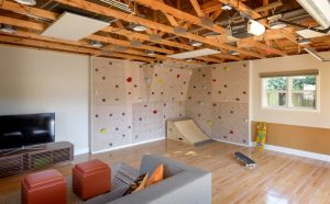Nod to Nautical Family Home in Queen Anne, Seattle, WA 98119, Modern Family Home, Playroom design, Built In Rock Wall, Skate Ramp, Play room design