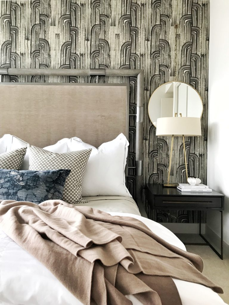 Pulp Design Studios Interior Design Install, High-Rise Condo Transformation, Kelly Wearstler Wallcovering, Lee Jofa Wallcovering, Master Bedroom Decor, Hotel-like Bedroom Design, How to Style a Bed, Nightstand, Handsome Interior Design, Groundworks Wallcovering, Wallpaper