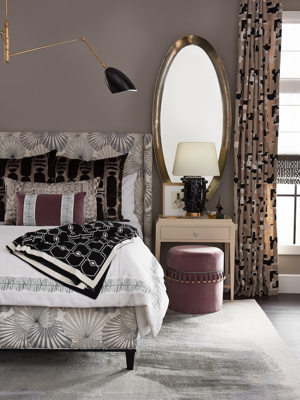 Pulp Design Studios for S Harris textiles, Osaka upholstery textile, globally inspired bedroom decor, Hidalgo drapery, Custom Upholstered Bed, Custom Drapery, Globally inspired home, purple velvet stool, black and white striped arm chair, Kismet Lounge collection