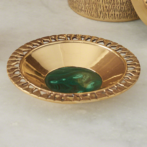 Pulp Home – Crimped Bowl – Brass:Malachite