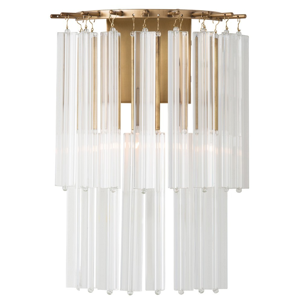 Pulp Home - Norton Sconce - Brass and Crystal Lighting, Modern Feminine Lighting , Elegant Glass Lighting, Brass and Glass Light Fixtures