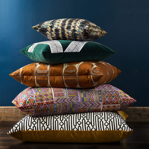 Pulp Design Studios for S Harris textiles. Global textiles, custom pillows, global patterns, statement accent fabric
