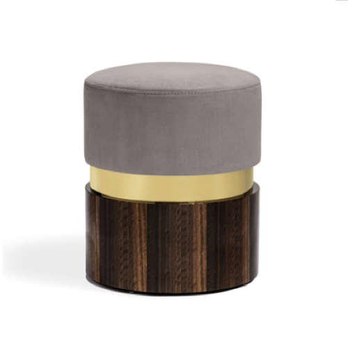 Kelsey Stool - Brass/Grey, wood base stool,