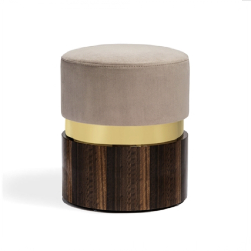 Kelsey Stool - Brass/taupe, wood base stool,
